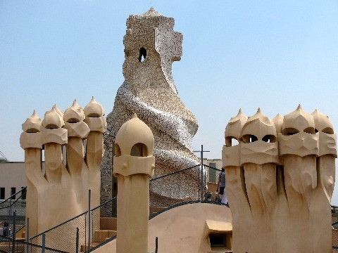 The roof of Casa Mila in Barcelona.